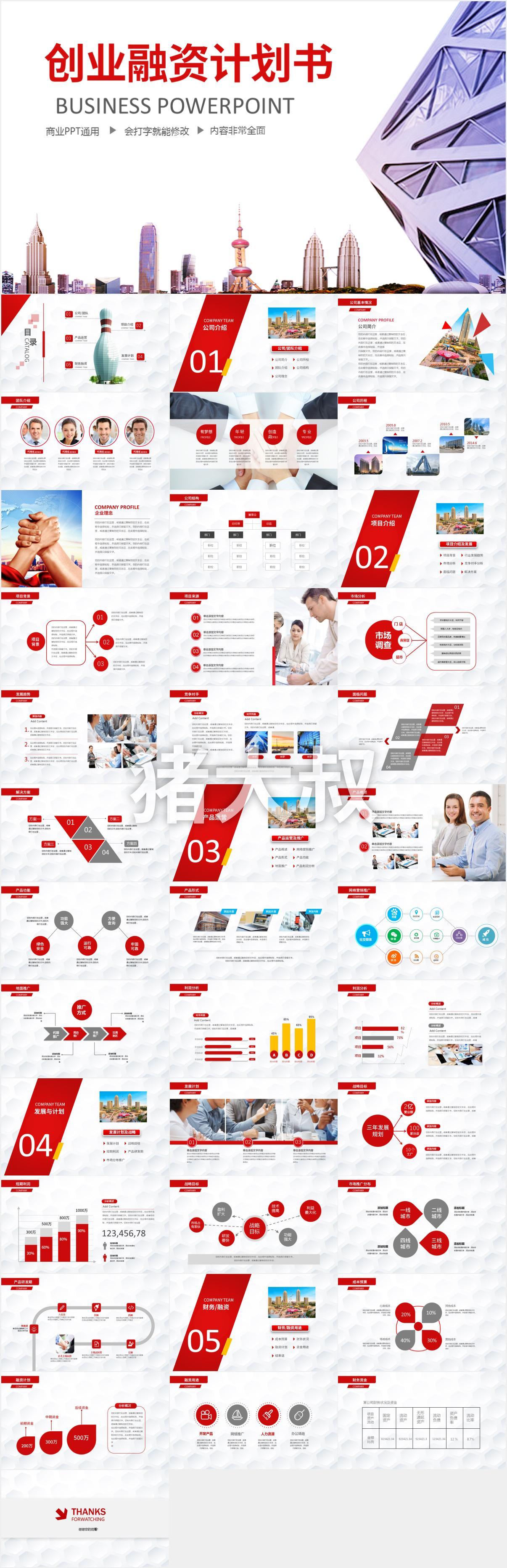创业融资计划书红色PPT模板下载